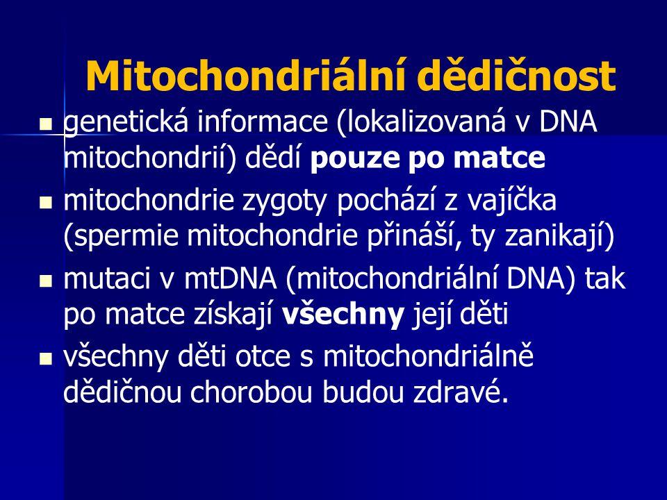 Mitochondriální dědičnost genetická informace (lokalizovaná v DNA mitochondrií) dědí pouze po matce mitochondrie zygoty pochází z vajíčka (spermie mit