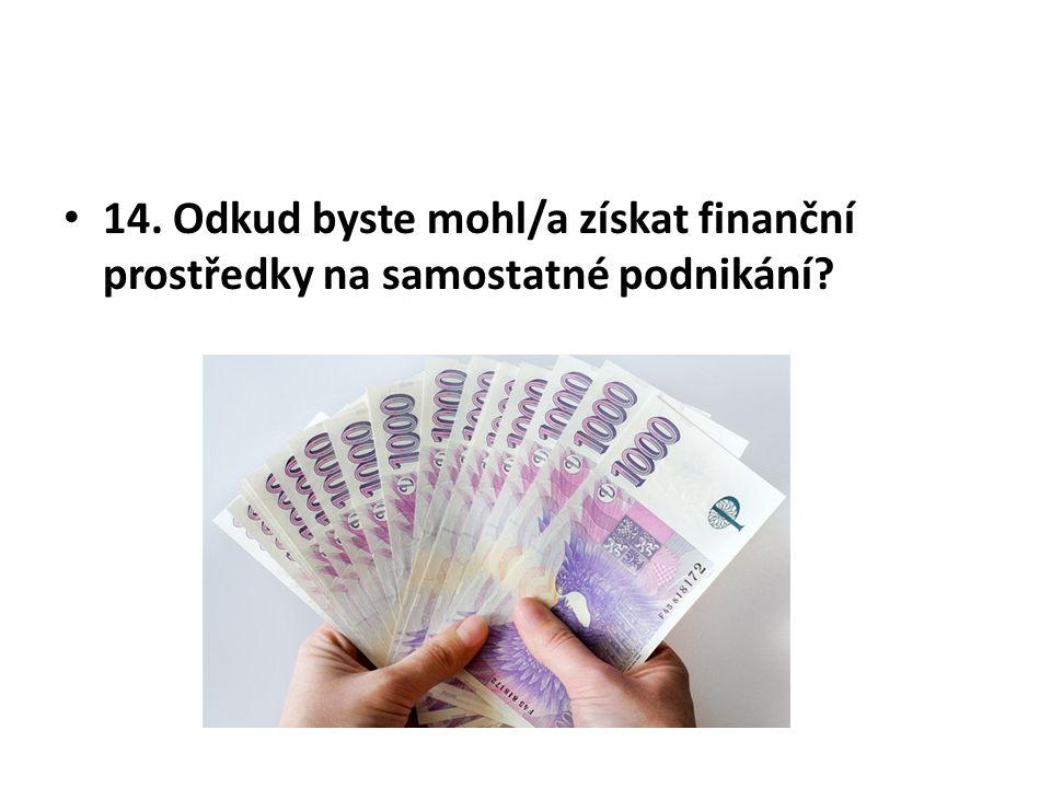 14. Odkud byste mohl/a získat finanční prostředky na samostatné podnikání?
