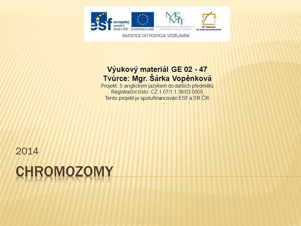 2014 Výukový materiál GE 02 - 47 Tvůrce: Mgr. Šárka Vopěnková Projekt: S anglickým jazykem do dalších předmětů Registrační číslo: CZ.1.07/1.1.36/03.00