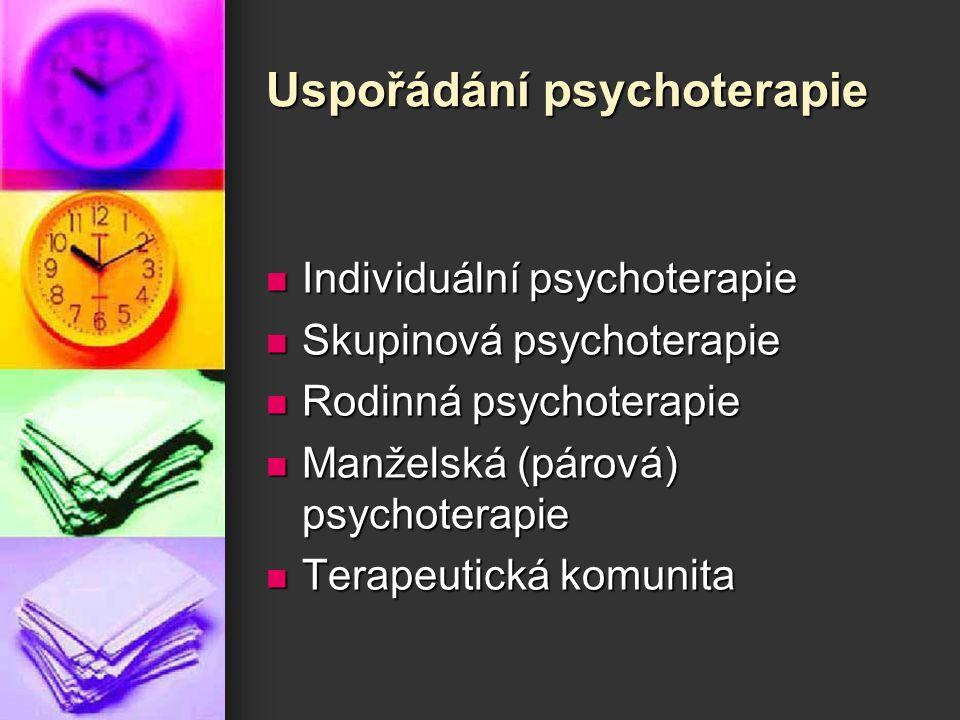 Uspořádání psychoterapie Individuální psychoterapie Individuální psychoterapie Skupinová psychoterapie Skupinová psychoterapie Rodinná psychoterapie R