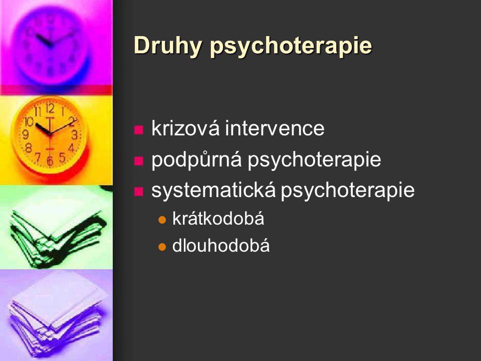 Druhy psychoterapie krizová intervence podpůrná psychoterapie systematická psychoterapie krátkodobá dlouhodobá