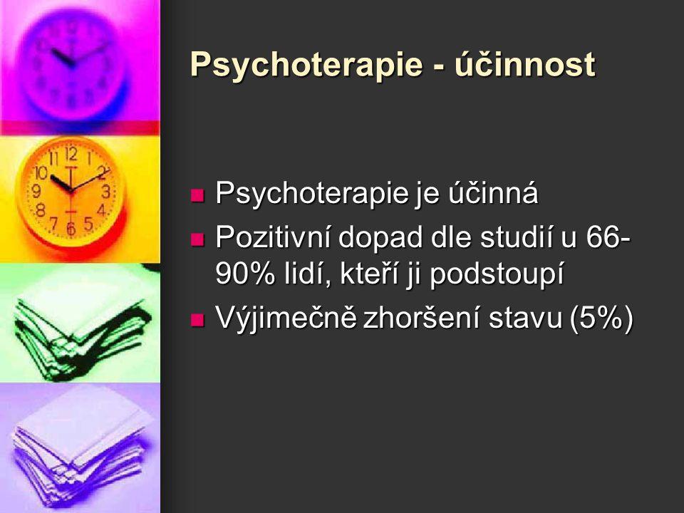 Psychoterapie - účinnost Psychoterapie je účinná Psychoterapie je účinná Pozitivní dopad dle studií u 66- 90% lidí, kteří ji podstoupí Pozitivní dopad