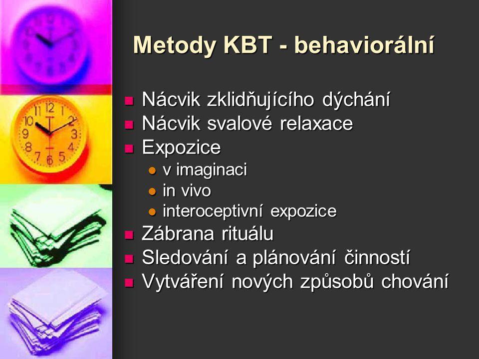 Metody KBT - behaviorální Nácvik zklidňujícího dýchání Nácvik zklidňujícího dýchání Nácvik svalové relaxace Nácvik svalové relaxace Expozice Expozice