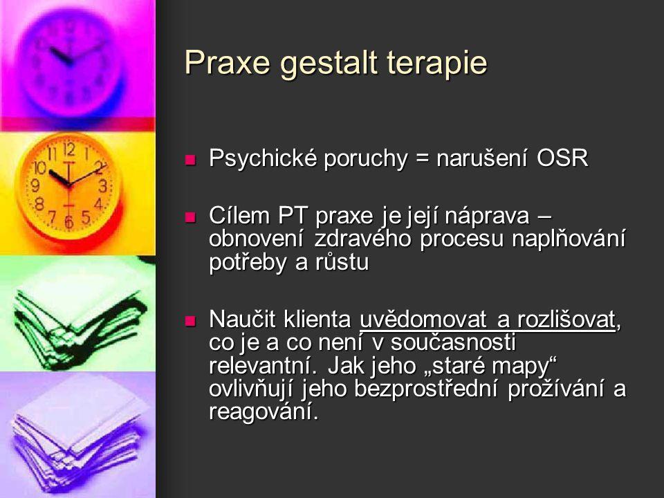 Praxe gestalt terapie Psychické poruchy = narušení OSR Psychické poruchy = narušení OSR Cílem PT praxe je její náprava – obnovení zdravého procesu nap