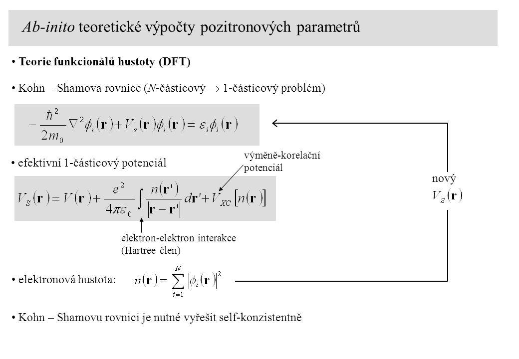 Teorie funkcionálů hustoty (DFT) Kohn – Shamova rovnice (N-částicový  1-částicový problém) efektivní 1-částicový potenciál elektron-elektron interakce (Hartree člen) výměně-korelační potenciál elektronová hustota: Kohn – Shamovu rovnici je nutné vyřešit self-konzistentně nový Ab-inito teoretické výpočty pozitronových parametrů