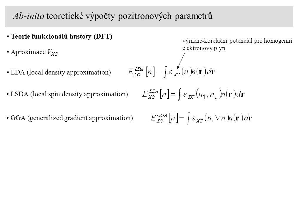 Teorie funkcionálů hustoty (DFT) Aproximace V XC LSDA (local spin density approximation) LDA (local density approximation) výměně-korelační potenciál