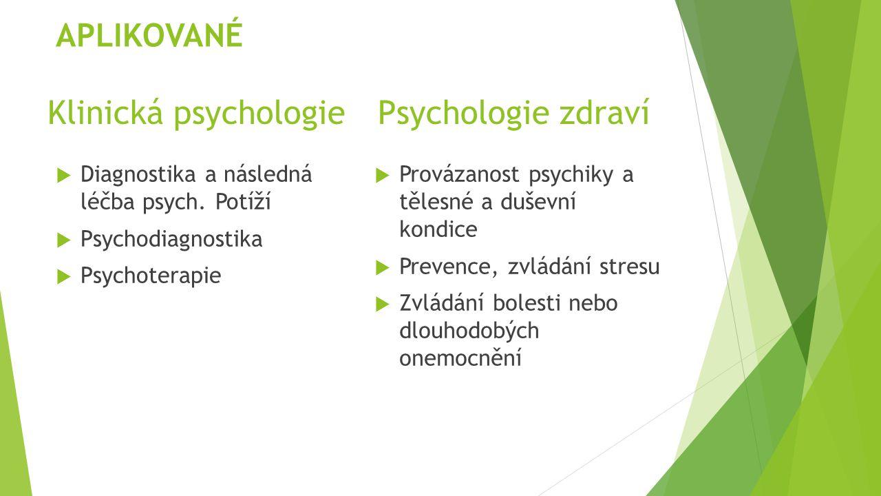 Klinická psychologiePsychologie zdraví  Diagnostika a následná léčba psych. Potíží  Psychodiagnostika  Psychoterapie  Provázanost psychiky a těles