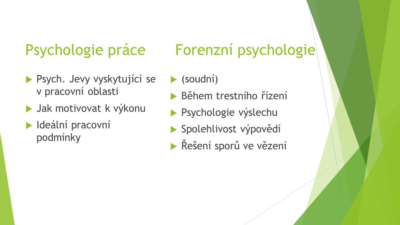 Psychologie práceForenzní psychologie  Psych. Jevy vyskytující se v pracovní oblasti  Jak motivovat k výkonu  Ideální pracovní podmínky  (soudní)