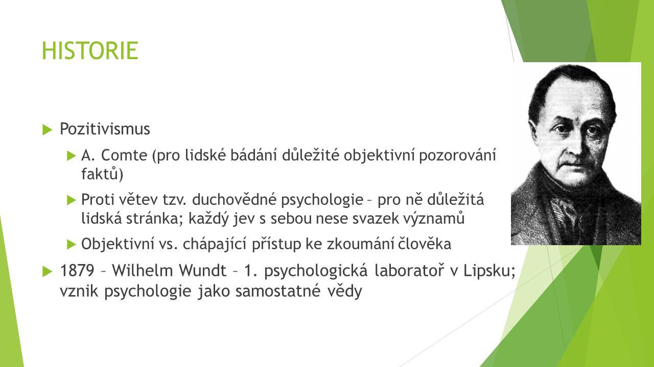 HISTORIE  Wilhelm Wundt  Empirická experimentální věda  Introspekce + jednoduché experimenty  Medicína = neuropsychologie  Ekonomie = psychologie trhu  Darwinova teorie = evoluční psychologie