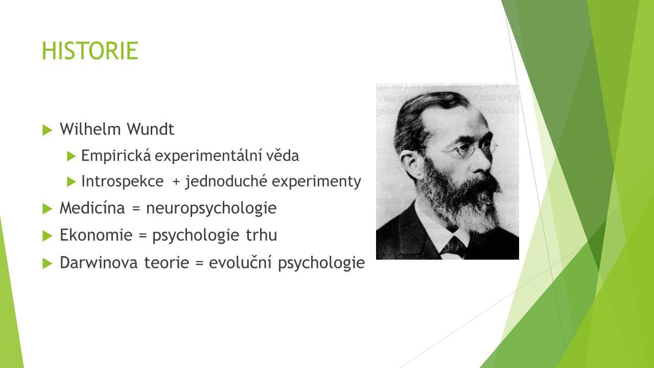 HISTORIE  Wilhelm Wundt  Empirická experimentální věda  Introspekce + jednoduché experimenty  Medicína = neuropsychologie  Ekonomie = psychologie