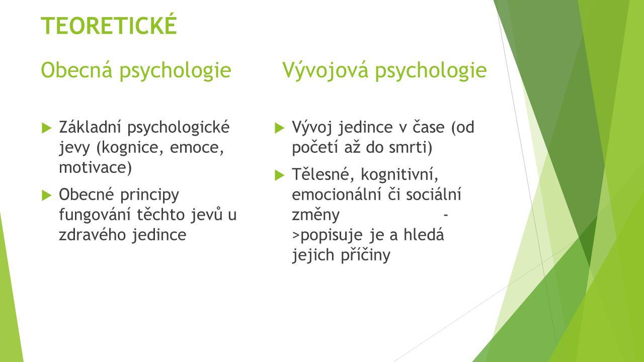 Obecná psychologieVývojová psychologie  Základní psychologické jevy (kognice, emoce, motivace)  Obecné principy fungování těchto jevů u zdravého jed