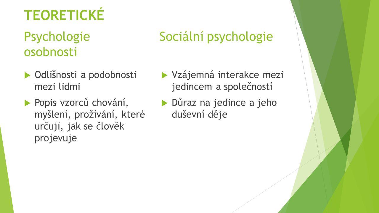 Psychologie Sociální psychologie osobnosti  Odlišnosti a podobnosti mezi lidmi  Popis vzorců chování, myšlení, prožívání, které určují, jak se člově