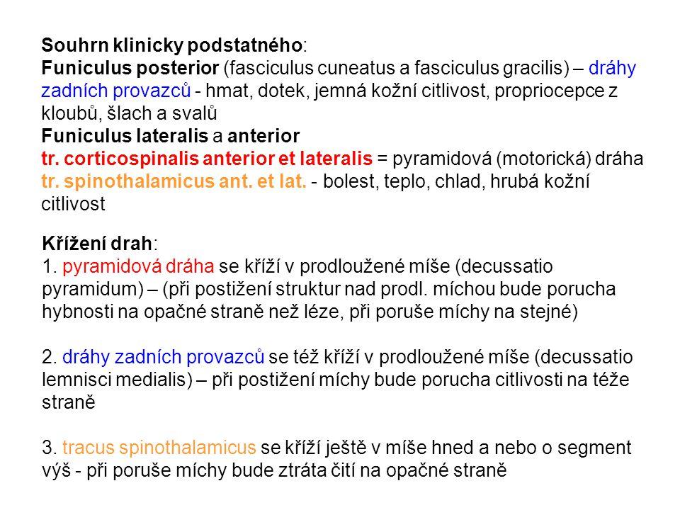 Souhrn klinicky podstatného: Funiculus posterior (fasciculus cuneatus a fasciculus gracilis) – dráhy zadních provazců - hmat, dotek, jemná kožní citlivost, propriocepce z kloubů, šlach a svalů Funiculus lateralis a anterior tr.
