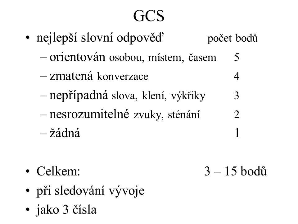 GCS nejlepší slovní odpověď počet bodů –orientován osobou, místem, časem5 –zmatená konverzace4 –nepřípadná slova, klení, výkřiky3 –nesrozumitelné zvuk