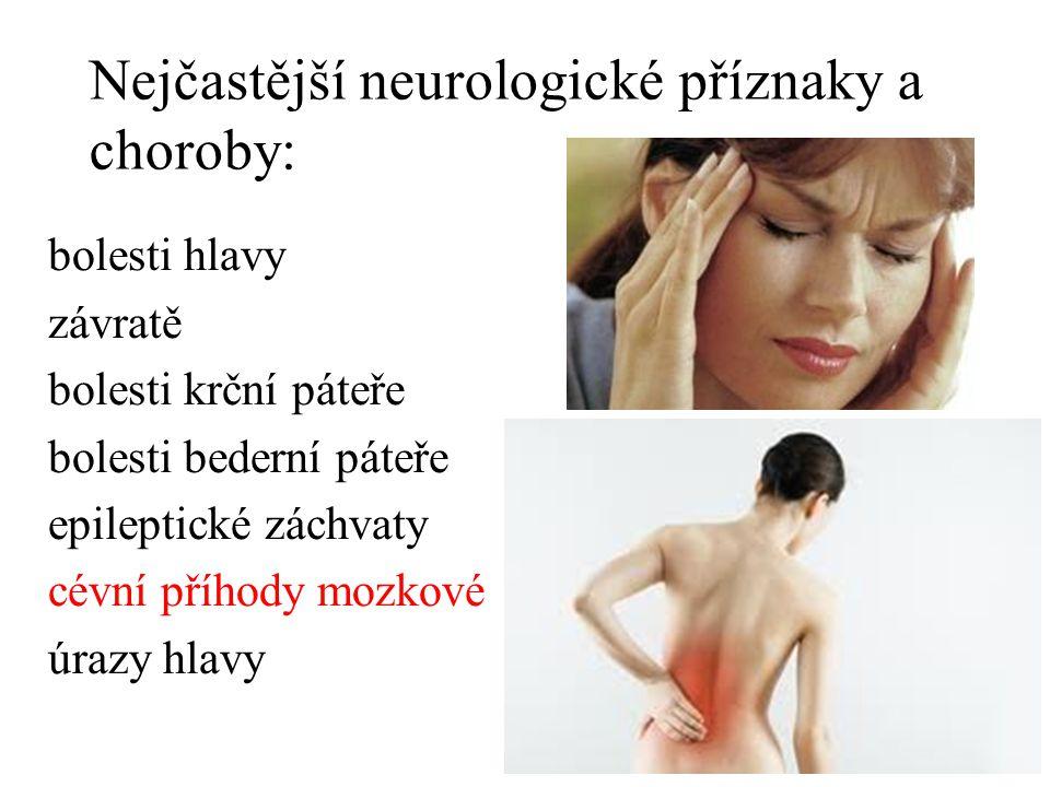 Nejčastější neurologické příznaky a choroby: bolesti hlavy závratě bolesti krční páteře bolesti bederní páteře epileptické záchvaty cévní příhody mozk