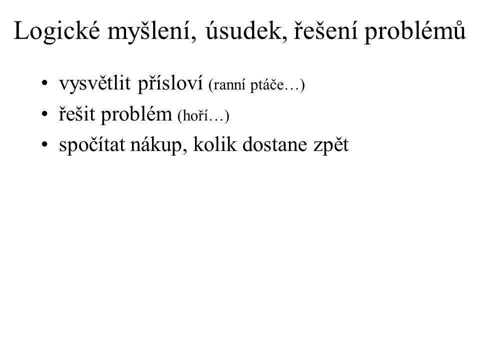 Logické myšlení, úsudek, řešení problémů vysvětlit přísloví (ranní ptáče…) řešit problém (hoří…) spočítat nákup, kolik dostane zpět