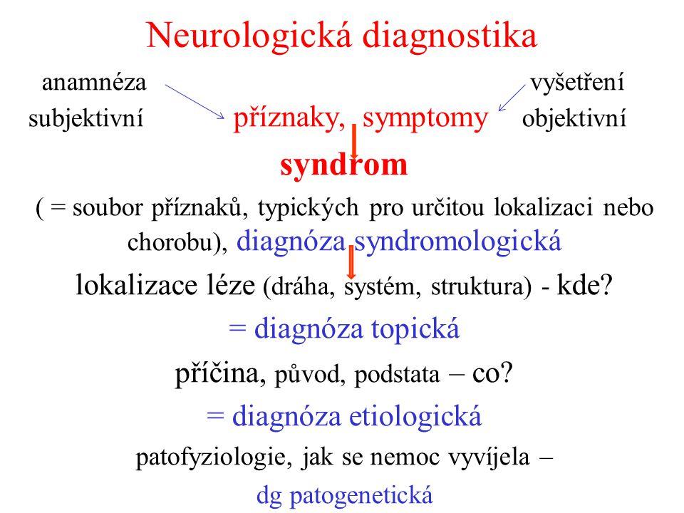 Neurologická diagnostika anamnéza vyšetření subjektivní příznaky, symptomy objektivní syndrom ( = soubor příznaků, typických pro určitou lokalizaci ne