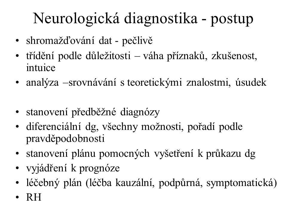 Neurologická diagnostika - postup shromažďování dat - pečlivě třídění podle důležitosti – váha příznaků, zkušenost, intuice analýza –srovnávání s teor