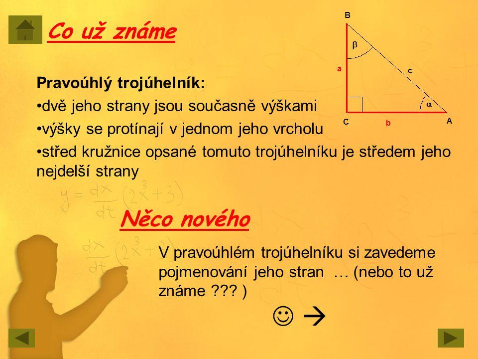 Pravoúhlý trojúhelník: dvě jeho strany jsou současně výškami výšky se protínají v jednom jeho vrcholu střed kružnice opsané tomuto trojúhelníku je stř