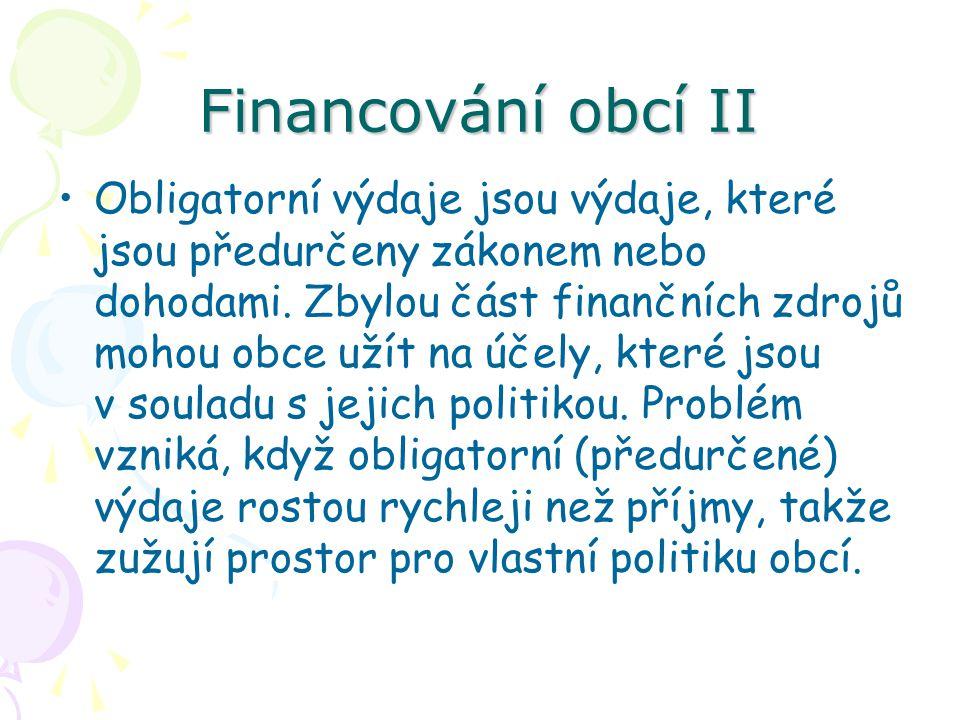 Financování obcí II Obligatorní výdaje jsou výdaje, které jsou předurčeny zákonem nebo dohodami.