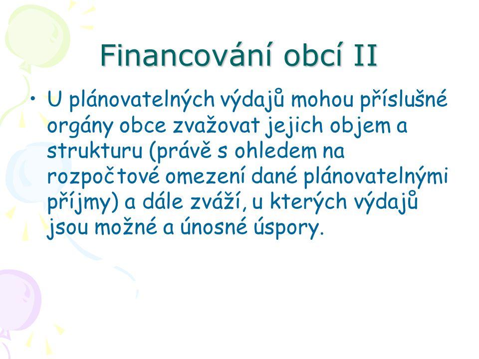 Financování obcí II U plánovatelných výdajů mohou příslušné orgány obce zvažovat jejich objem a strukturu (právě s ohledem na rozpočtové omezení dané plánovatelnými příjmy) a dále zváží, u kterých výdajů jsou možné a únosné úspory.