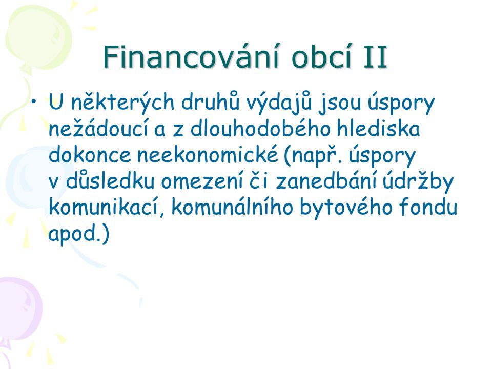Financování obcí II U některých druhů výdajů jsou úspory nežádoucí a z dlouhodobého hlediska dokonce neekonomické (např.