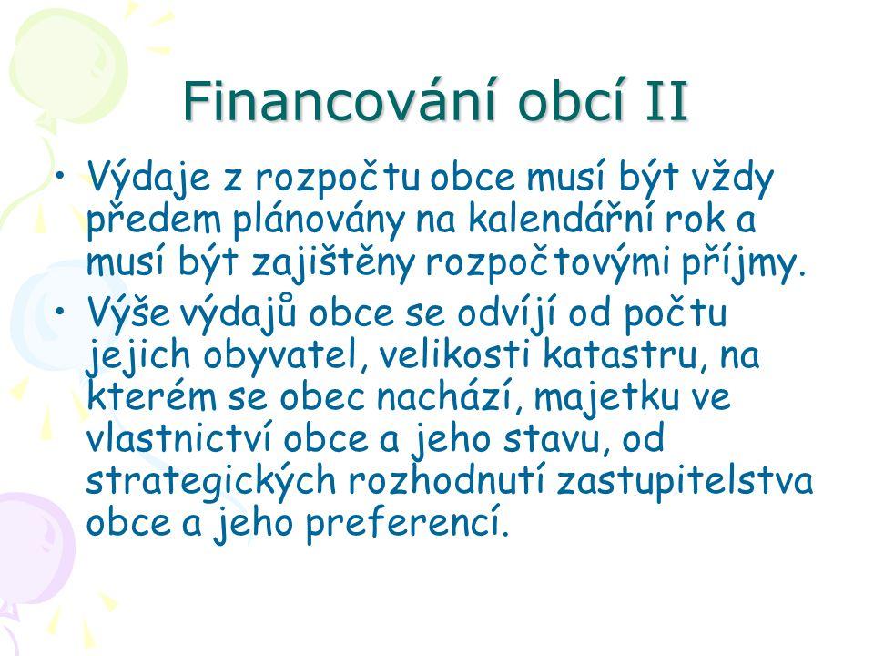 Financování obcí II Výdaje z rozpočtu obce musí být vždy předem plánovány na kalendářní rok a musí být zajištěny rozpočtovými příjmy.