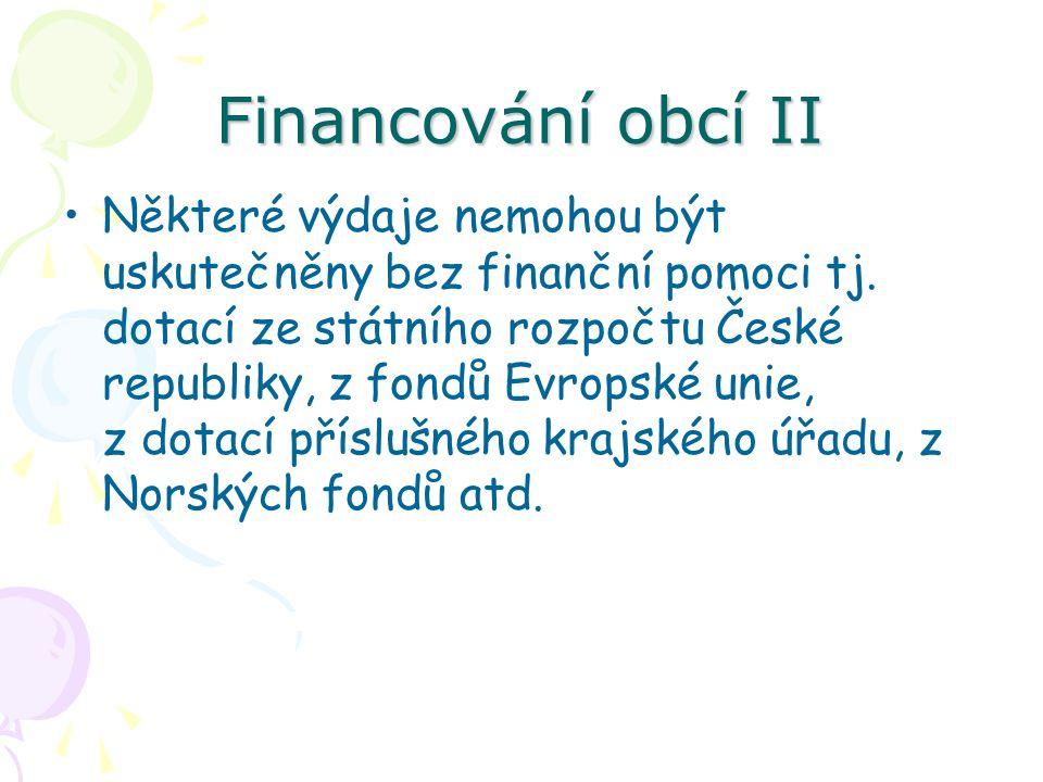 Financování obcí II Některé výdaje nemohou být uskutečněny bez finanční pomoci tj.