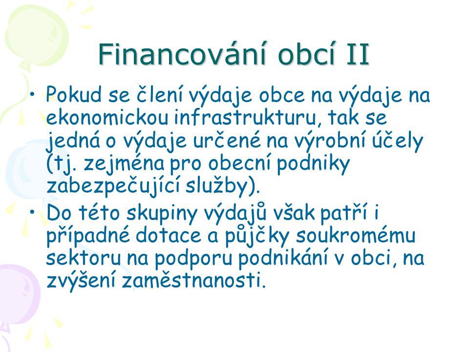 Financování obcí II Pokud se člení výdaje obce na výdaje na ekonomickou infrastrukturu, tak se jedná o výdaje určené na výrobní účely (tj.