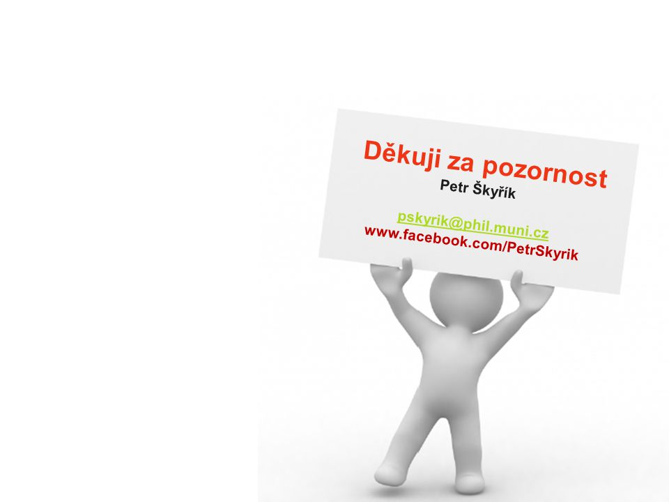 Děkuji za pozornost Petr Škyřík pskyrik@phil.muni.cz www.facebook.com/PetrSkyrik