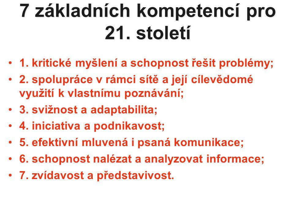 7 základních kompetencí pro 21. století 1. kritické myšlení a schopnost řešit problémy; 2.