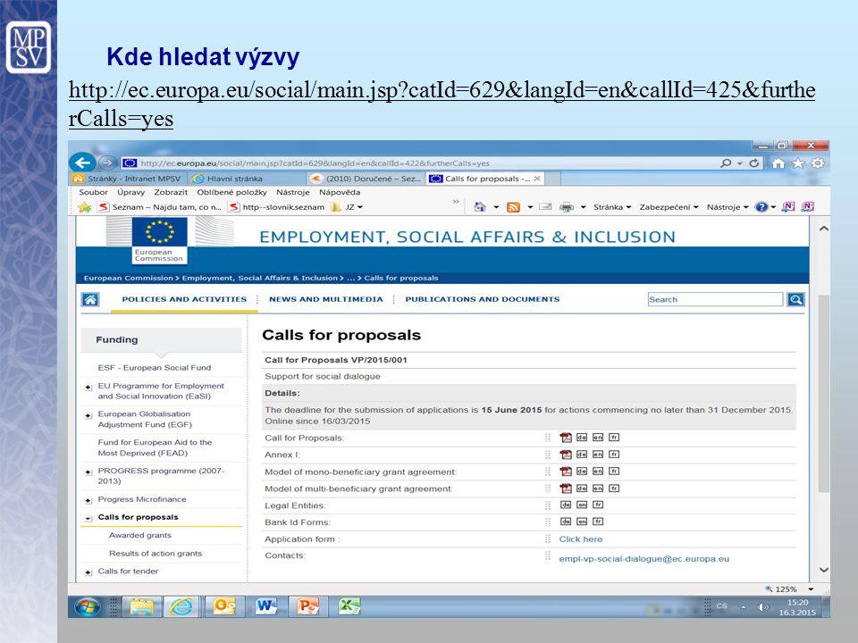 12 Kde hledat výzvy http://ec.europa.eu/social/main.jsp?catId=629&langId=en&callId=425&furthe rCalls=yes
