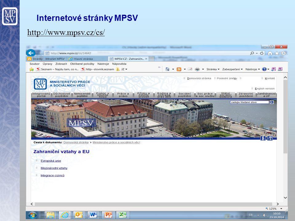 14 Internetové stránky MPSV http://www.mpsv.cz/cs/