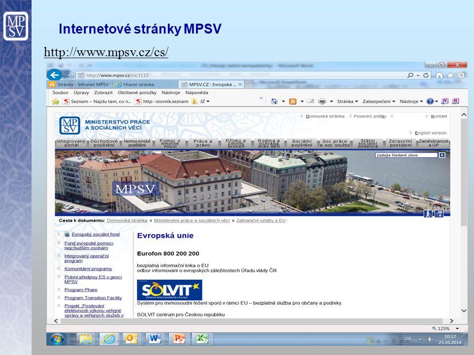 16 Internetové stránky MPSV http://www.mpsv.cz/cs/