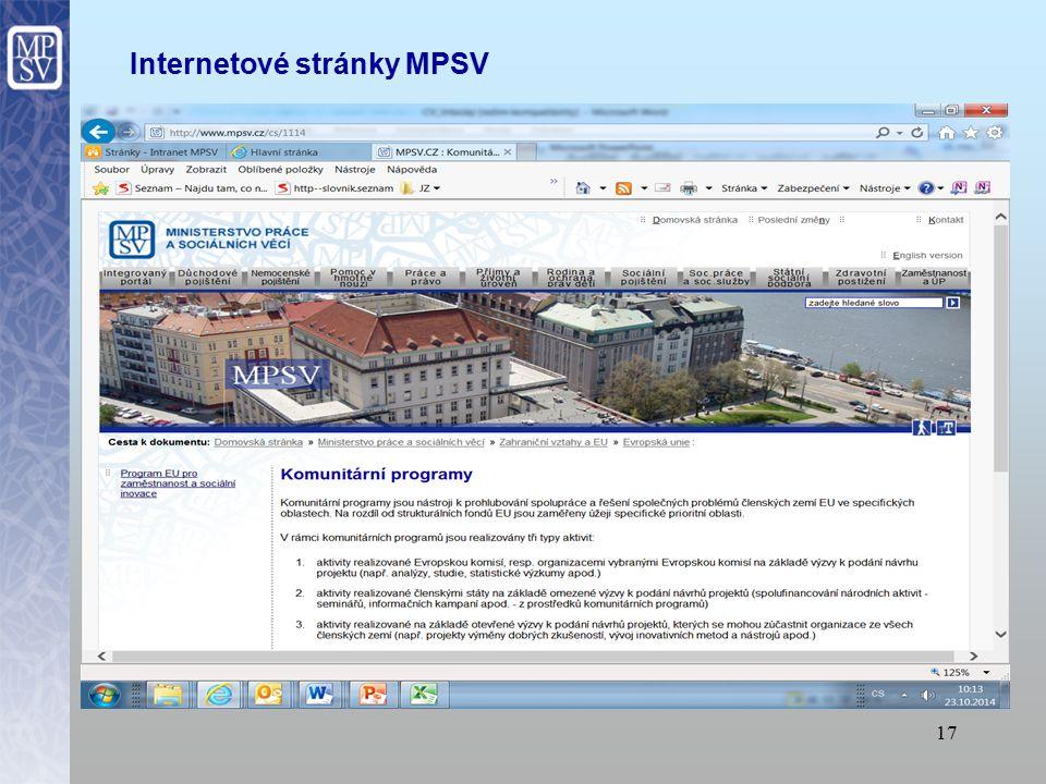 17 Internetové stránky MPSV