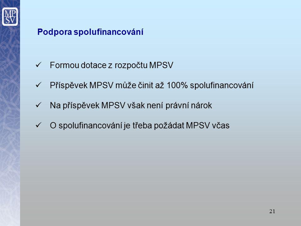 21 Podpora spolufinancování Formou dotace z rozpočtu MPSV Příspěvek MPSV může činit až 100% spolufinancování Na příspěvek MPSV však není právní nárok O spolufinancování je třeba požádat MPSV včas
