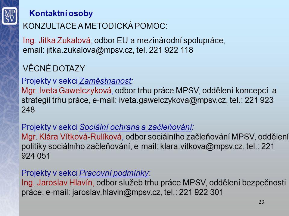 23 Kontaktní osoby KONZULTACE A METODICKÁ POMOC: Ing.