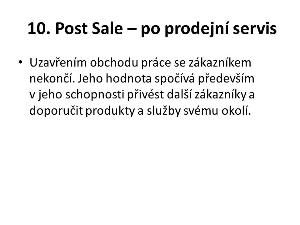 10. Post Sale – po prodejní servis Uzavřením obchodu práce se zákazníkem nekončí. Jeho hodnota spočívá především v jeho schopnosti přivést další zákaz