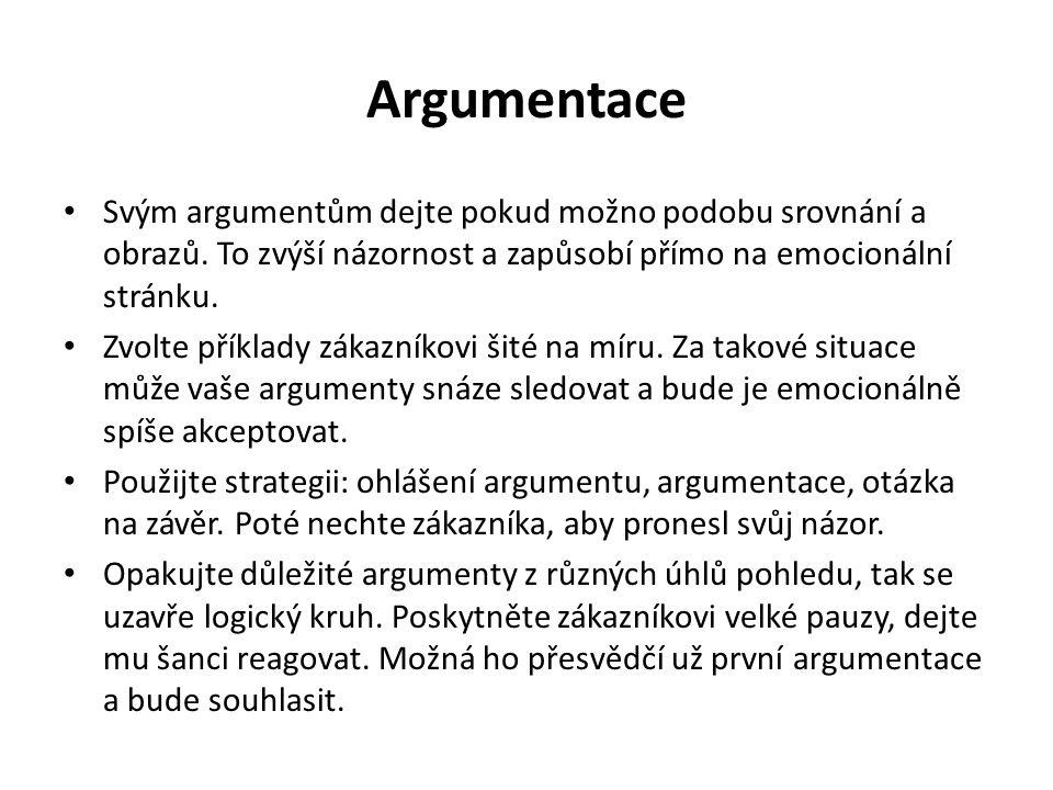 Argumentace Svým argumentům dejte pokud možno podobu srovnání a obrazů. To zvýší názornost a zapůsobí přímo na emocionální stránku. Zvolte příklady zá