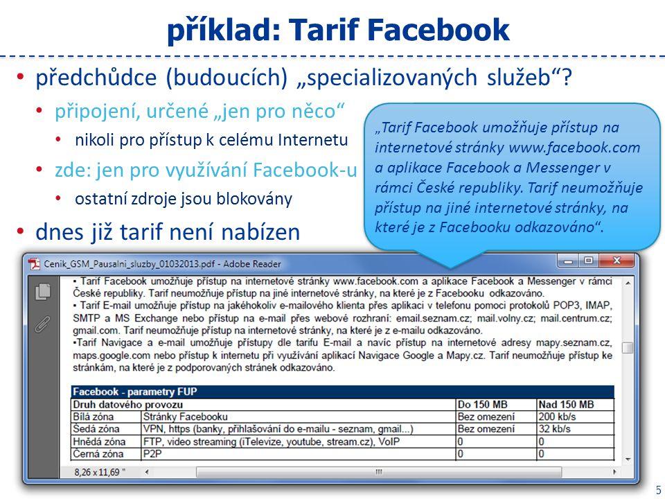 """15 příklad: Tarif Facebook předchůdce (budoucích) """"specializovaných služeb ."""