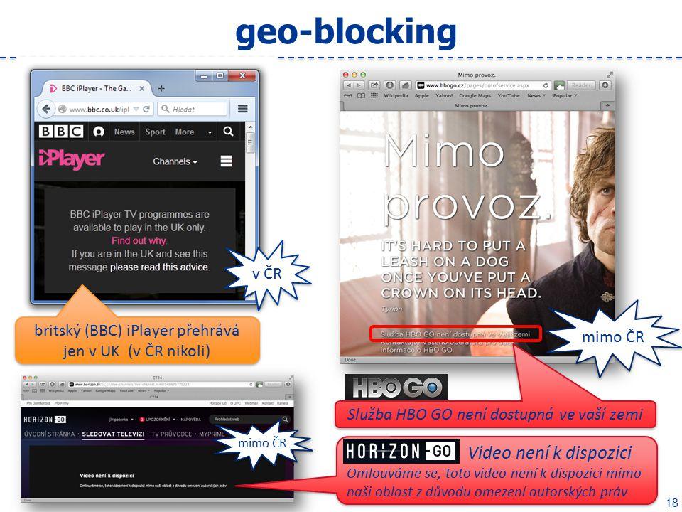 18 geo-blocking britský (BBC) iPlayer přehrává jen v UK (v ČR nikoli) Služba HBO GO není dostupná ve vaší zemi Video není k dispozici Omlouváme se, toto video není k dispozici mimo naši oblast z důvodu omezení autorských práv Video není k dispozici Omlouváme se, toto video není k dispozici mimo naši oblast z důvodu omezení autorských práv mimo ČR v ČR mimo ČR