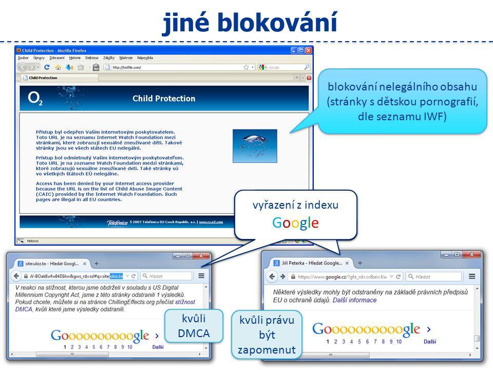 19 jiné blokování blokování nelegálního obsahu (stránky s dětskou pornografií, dle seznamu IWF) blokování nelegálního obsahu (stránky s dětskou pornografií, dle seznamu IWF) vyřazení z indexu Google kvůli DMCA kvůli právu být zapomenut
