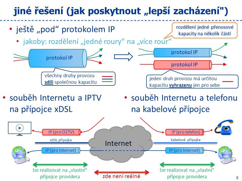 """8 jiné řešení (jak poskytnout """"lepší zacházení ) ještě """"pod protokolem IP jakoby: rozdělení """"jedné roury na """"více rour souběh Internetu a IPTV na přípojce xDSL souběh Internetu a telefonu na kabelové přípojce rozdělení jedné přenosové kapacity na několik částí protokol IP všechny druhy provozu sdílí společnou kapacitu jeden druh provozu má určitou kapacitu vyhrazenu jen pro sebe Internet IP (pro O2TV) IP (pro Internet) xDSL přípojka kabelová přípojka IP (pro Internet) IP (pro telefon) zde není reálné lze realizovat na """"vlastní přípojce providera"""