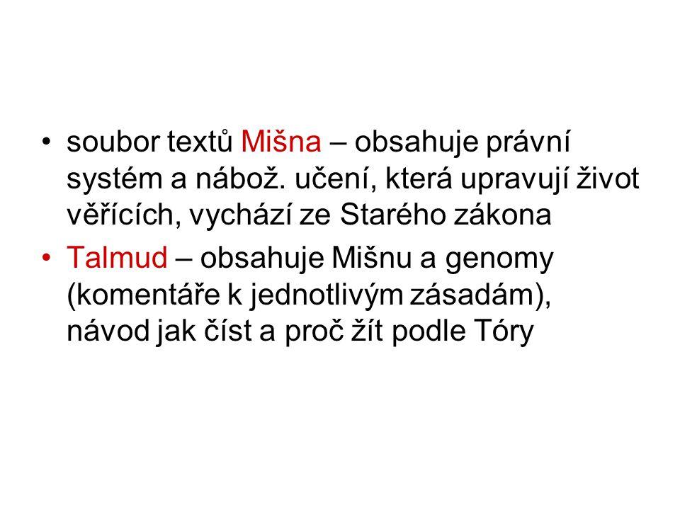 soubor textů Mišna – obsahuje právní systém a nábož.