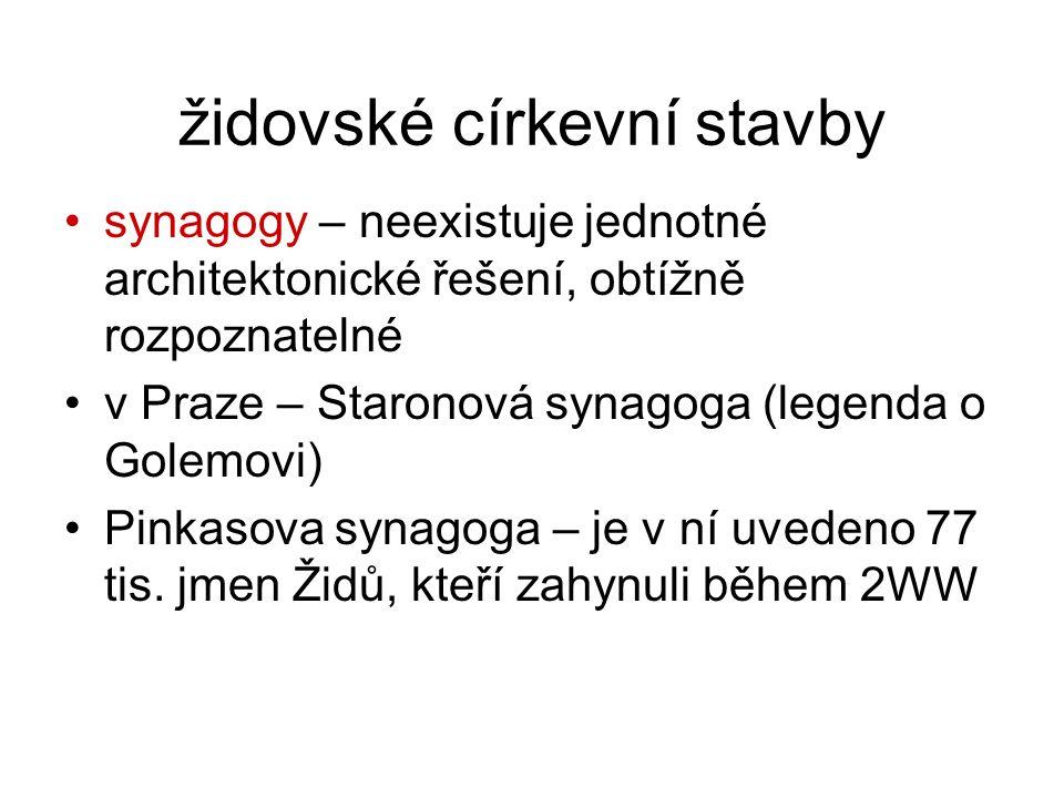 židovské církevní stavby synagogy – neexistuje jednotné architektonické řešení, obtížně rozpoznatelné v Praze – Staronová synagoga (legenda o Golemovi) Pinkasova synagoga – je v ní uvedeno 77 tis.