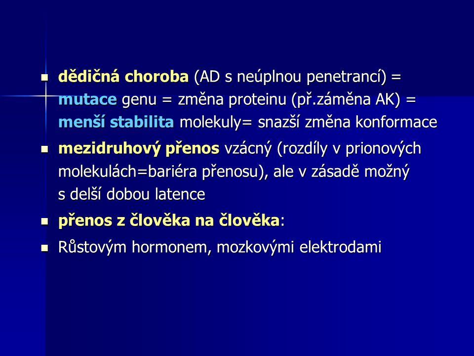 dědičná choroba (AD s neúplnou penetrancí) = mutace genu = změna proteinu (př.záměna AK) = menší stabilita molekuly= snazší změna konformace dědičná choroba (AD s neúplnou penetrancí) = mutace genu = změna proteinu (př.záměna AK) = menší stabilita molekuly= snazší změna konformace mezidruhový přenos vzácný (rozdíly v prionových molekulách=bariéra přenosu), ale v zásadě možný s delší dobou latence mezidruhový přenos vzácný (rozdíly v prionových molekulách=bariéra přenosu), ale v zásadě možný s delší dobou latence přenos z člověka na člověka: přenos z člověka na člověka: Růstovým hormonem, mozkovými elektrodami Růstovým hormonem, mozkovými elektrodami