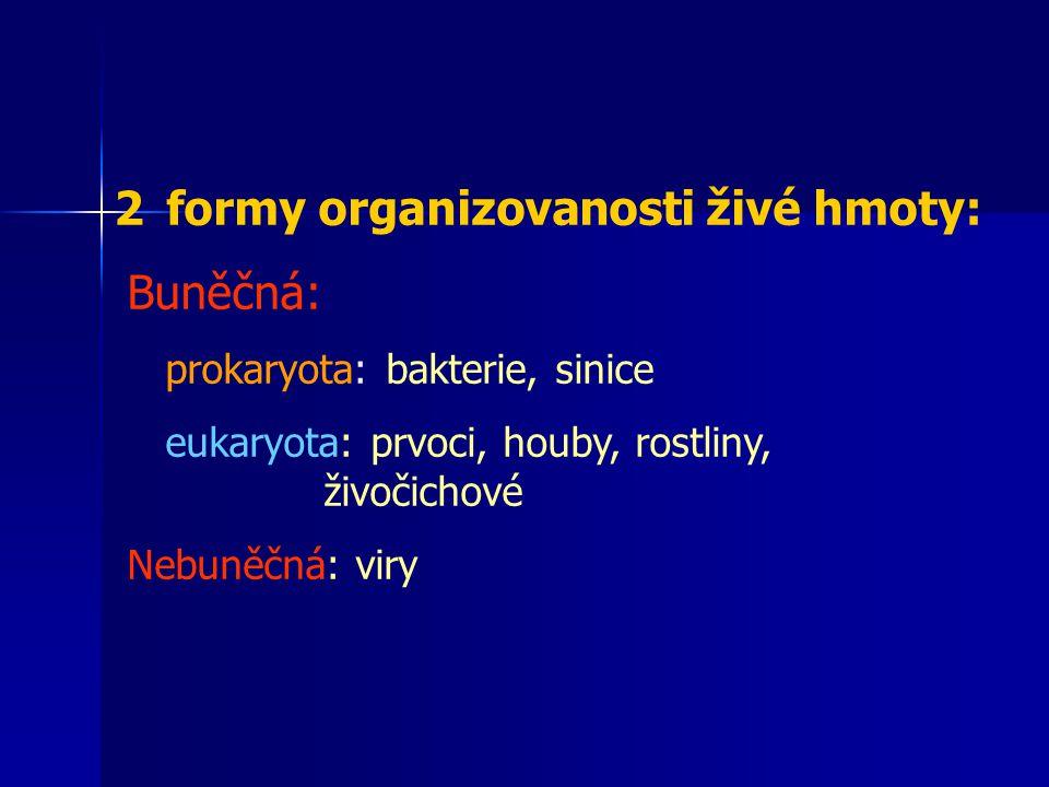 2formy organizovanosti živé hmoty: Buněčná: prokaryota: bakterie, sinice eukaryota: prvoci, houby, rostliny, živočichové Nebuněčná: viry