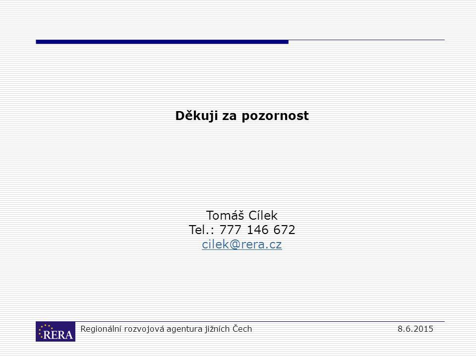 Regionální rozvojová agentura jižních Čech8.6.2015 Děkuji za pozornost Tomáš Cílek Tel.: 777 146 672 cilek@rera.cz