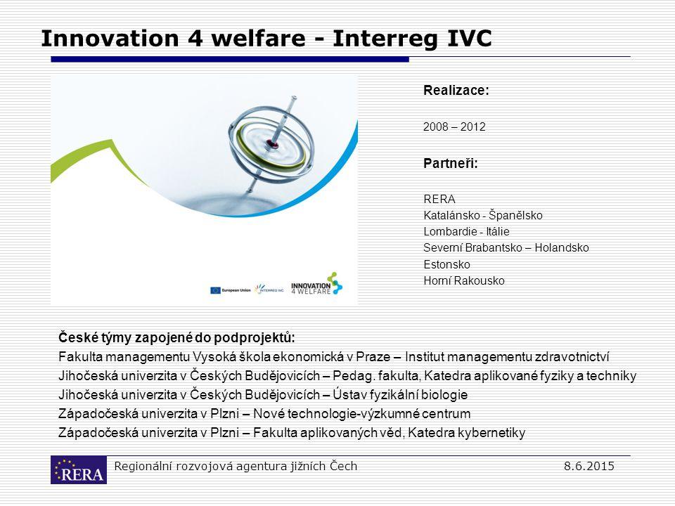 Regionální rozvojová agentura jižních Čech8.6.2015 Innovation 4 welfare