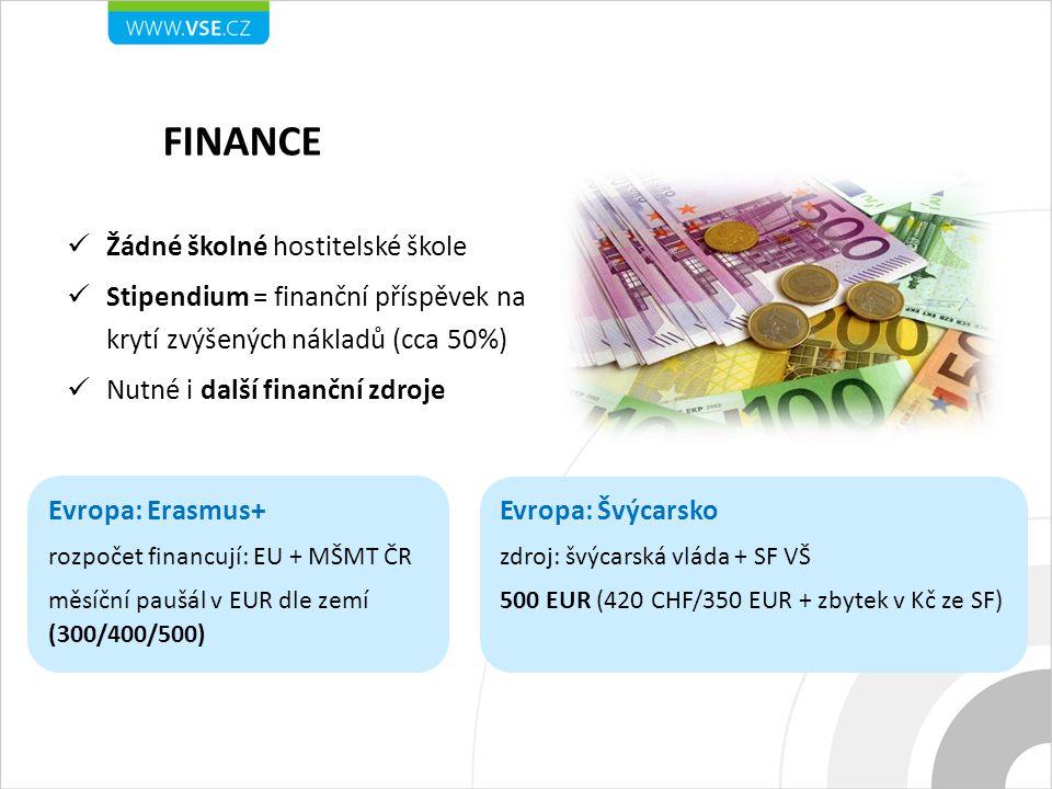 Žádné školné hostitelské škole Stipendium = finanční příspěvek na krytí zvýšených nákladů (cca 50%) Nutné i další finanční zdroje Evropa: Erasmus+ rozpočet financují: EU + MŠMT ČR měsíční paušál v EUR dle zemí (300/400/500) Evropa: Švýcarsko zdroj: švýcarská vláda + SF VŠ 500 EUR (420 CHF/350 EUR + zbytek v Kč ze SF)